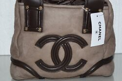 New Small Tote Bag Suede Brown Handbag Bag Shearling Fur Quilted Cc