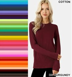 Womens T Shirt Crew Neck Long Sleeve Zenana Cotton Stretch Top S M L XL $11.95