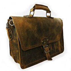 Leather Dual Compartment Briefcase - Satisfaction Guaranteed FREE US Shipping!