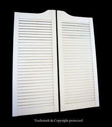 White Cafe Door 29w Pine Louvered Saloon Swinging Pub Bar Western With Hinges