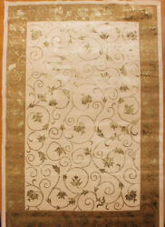 Tibetan Hand Knotted Wool And Silk Beige Color Tibet Rug