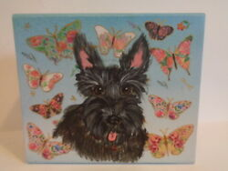 HAND PAINTED ART~~~BLACK SCOTTISH TERRIER FANCY KEEPSAKE BOX WITH BUTTERFLIES~~~