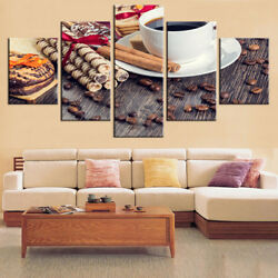 Coffee Cup Beans Cookie Stick Cinnamon 5 Panel Canvas Print Wall Art Home Decor
