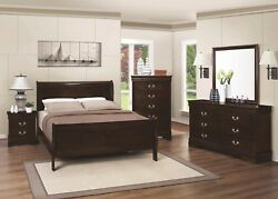 Full Size Panel Sleigh Bed in Cappuccino 4pc Set Dresser Mirror Nightstand