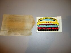Vintage Lindgren Turner Travel Decal Rms Queen Mary Long Beach Cal. W/ Pkg.