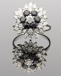 Vintage Sapphire And Diamond 3 Tier Cluster Ring - 1970s