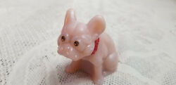 Glass French Bulldog Pink Tuscan Hand Painted Collar Figurine