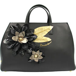 Braccialini Made in Italy luxury designer black leather bag Flowers applique $925.00