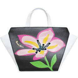 Braccialini Made in Italy designer fashion leather Tote bag with Floral applique