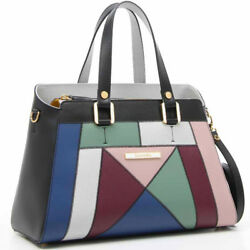 Braccialini Made in Italy designer luxury leather Tote bag multicolor patchwork