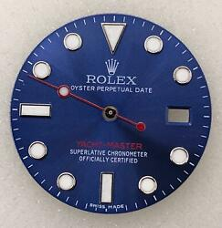 Refined Rolex Yacht-master Dial In Blue With Red Writing With Matching Hand