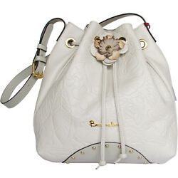 Braccialini italian designer luxury beige leather Bucket bag floral embossing