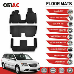 Floor Mats Liner 3d Molded Black For 7 Seat Chrysler Town And Country 2008-2016
