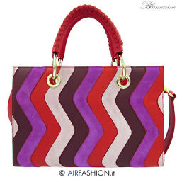 Blumarine italian designer luxury red leather bag with purple patchwork zig zags $890.00