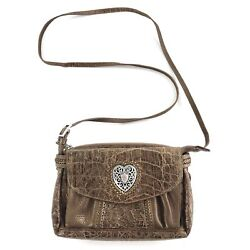 Brighton NWOT Brown Croc Embossed Leather Crossbody Bag w Attached Wallet