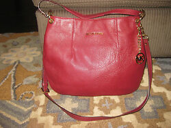MICHAEL KORS MAROON LEATHER BEDFORD SHOULDER BAG HOBO CROSSBODY PURSE CHAIN GOLD