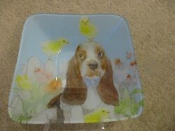 Basset Hound Puppy Dog Glass Easter Spring Bowl With Chicks by Prima Design NEW