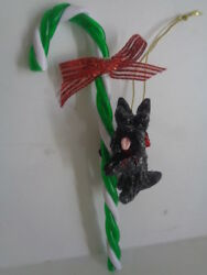 HAND SCULPTED ART~BLACK SCOTTIE TERRIER & CANDY CANE CHRISTMAS ORNAMENT~Pre Sale