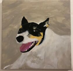 Dog portrait paintingjack russell terrier Acrylic black white and gray cute