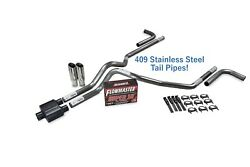 Ford F-150 87-97 2.5 Ss Dual Exhaust Kit Flowmaster Super 10 Side Clamp Tip