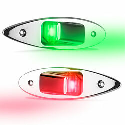 Led Bow Navigation Side Lights Flush Mount Stainless Steel Red And Green Pair 12v