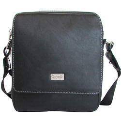 Tonelli Uomo Made in Italy men's fashion black leather crossbody shoulder bag