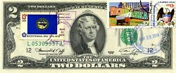 2 Dollars 1976 First Day Stamp Cancel State Flag From Nebraska Value 300