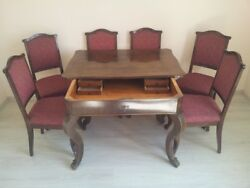 Antique Hungarian Dining Set Table With 6 Chairs