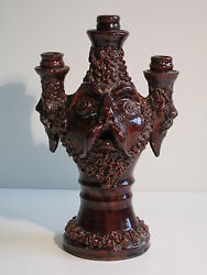 GROTTAGLIE ANTIQUE LUCERNE CANDLE HOLDERS MAJOLICA POPULAR WITH FACES '900