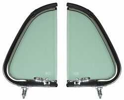 1951 1952 Ford Truck Chrome Vent Window Assemblies Lh And Rh Pair Tint Glass New