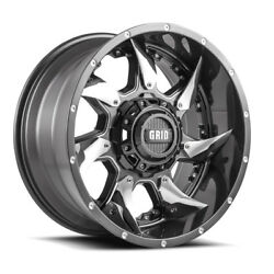 20x9 Grid Offroad Gd01 Graphite Wheels 8x180 +15 124.2 Set Of 4