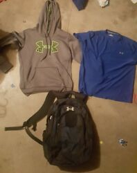 Under Armour Men's Small Lot of 3: Gray Hoodie Blue T-shirt Backpack