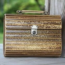 Tiger Bamboo Hand Bag Made In Japan H/8xw/10xd/3 Inches With Key Card Pen Holder
