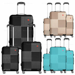 3-piece Hardside Luggage Set With Spinner Wheels Lightweight 20and039and039 24and039and039 28and039and039