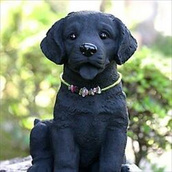 Bamboo Charcoal Paint Labrador Retriever Puppy Ornament Figurine Made In Japan