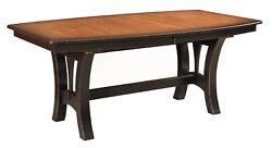 Amish Transitional Trestle Dining Table Boat Top Solid Wood Grand Island Black