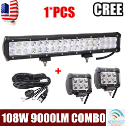 17inch 108w Led Work Light Bar Offroad Suv For Jeep Car And 18w Pods Harness Kit