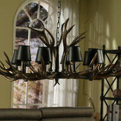 Retro Black Antler Chandeliers Lights With Shade Dining Room Bar Hanging Lamp