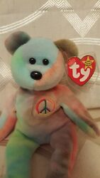 1996 Ty Original Beanie Baby Peace Bear Plush Toy Collectible