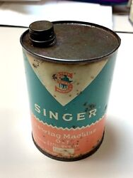 Antique Vintage Can Tin Singer Oil For Industrial Sewing Machines 1liter