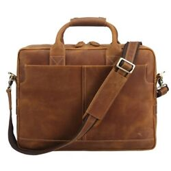 Brown Laptop Briefcase 17 Inch Durable Leather Messenger Bag Travel Case Tote