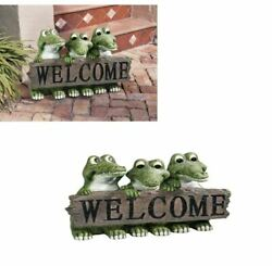 Crcodile Welcome Statue For Home Outdoor Decor Cat Outside Front Door Animal