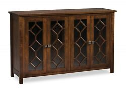 Amish Transitional Solid Wood Buffet Glass Doors Hayden 60w X 38h