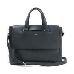 TODS Hand Bag Cross Body Hand Bag Black x Silver Leather Ladies Fashion D01A2