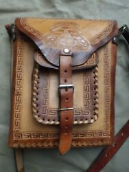 Vintage Hand Carved Tooled Leather Handbag W/ Shoulder Strap Made In Mexico New