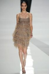 RALPH RUCCI CHADO Runway Feather Bead Sequin Tulle Embellished Dress Size US6