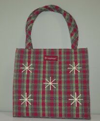 Longaberger Purse Book Tote Red Green Plaid Snowflakes