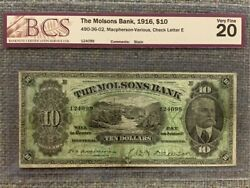 1916 Molsons Bank 10 Chartered Banknote - Ch 490-36-02