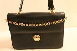 AUTHENTIC CHLOE  LEATHER CLASSIC  BLACK EVENING BAG HANDBAG PURSE WGOLD CHAIN
