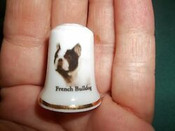 vintage FRENCH BULLDOG Dog Collectible ceramic Thimble figurine Lim.Edition